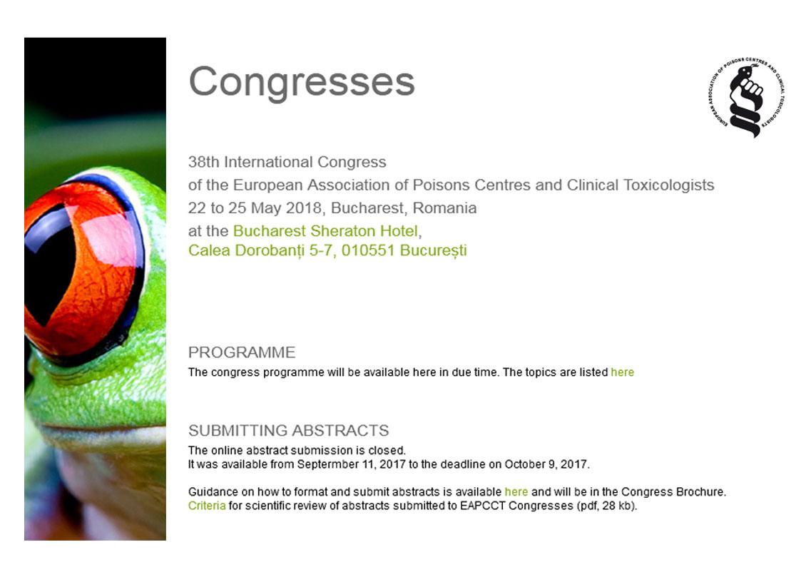 """برگزاري سي و هشتمين همايش""""European Association of Poisons Centres and Clinical Toxicologists""""در تاريخ 1397/3/1 تا 1397/3/4"""