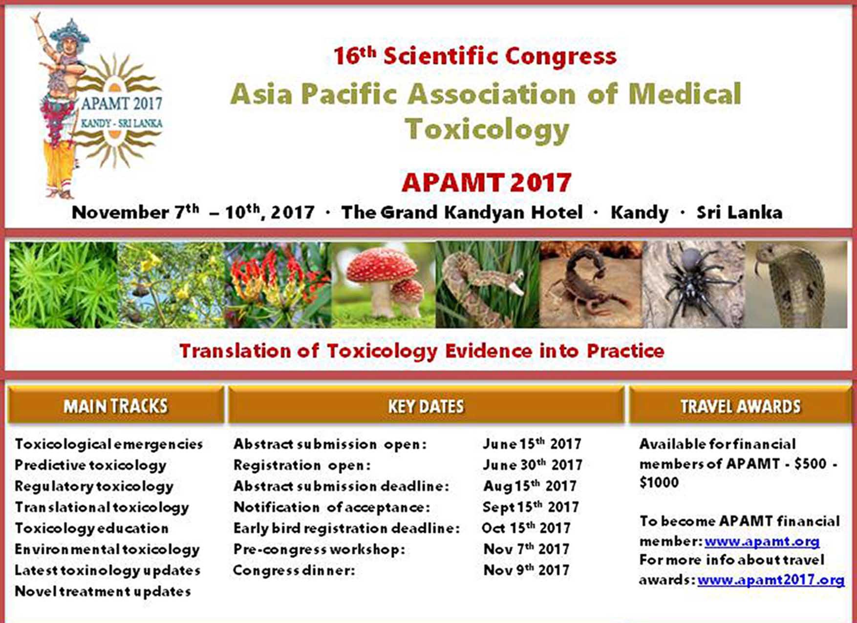 """شانزدهمين كنگره ي بين المللي سم شناسي -Asia Pacific Association of Medical Toxicology"""" APAMT"""""""